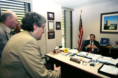 Marty Glazer and Eric Berkowitz discuss the legislation's adverse consequences with bill co-sponsor Juan Zapata