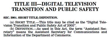 Click to 'Digital Transition and Public Safety Act of 2005' website